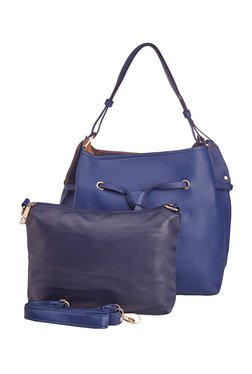 Vero Couture Blue Solid Shoulder Bag With Pouch