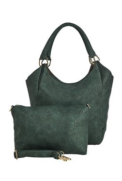 Vero Couture Dark Green Textured Shoulder Bag With Pouch