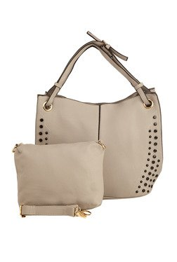Vero Couture Grey Embellished Shoulder Bag With Pouch