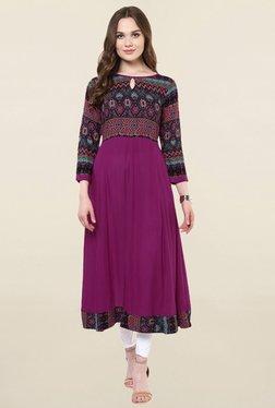 StyleStone Purple Printed Rayon Anarkali Kurta