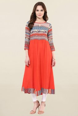 StyleStone Orange Printed Rayon Anarkali Kurta
