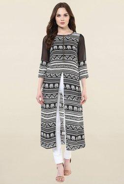 StyleStone Black & White Printed Polyester Kurta