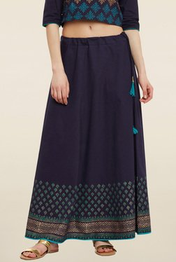 9rasa Navy Block Print Skirt