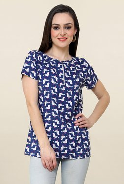 Pannkh Dark Blue Printed Top