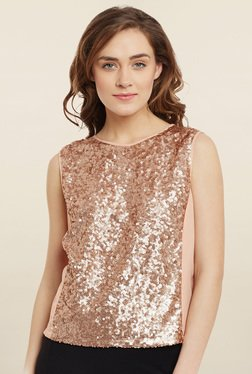 Femella Peach Embellished Top