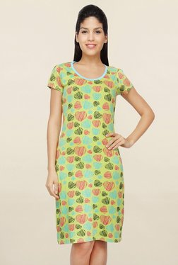 Nuteez Lime Heart Print Nighty