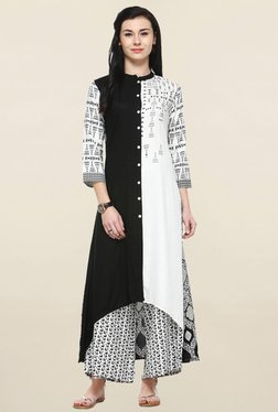 Varanga Black & White Printed Kurta With Palazzo - Mp000000001250431