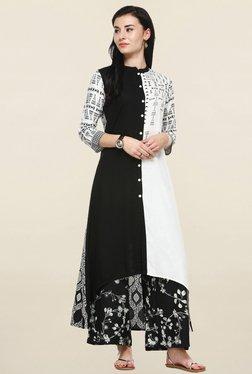 Varanga Black & White Printed Kurta With Palazzo - Mp000000001250443