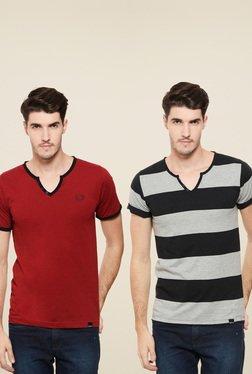 Rigo Red & Black Slim Fit T-Shirt (Pack Of 2)