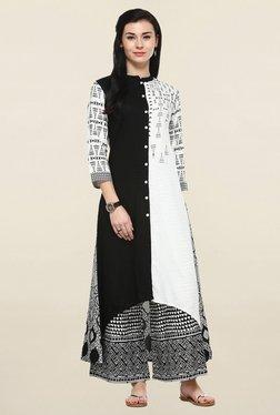 Varanga Black & White Printed Kurta With Palazzo - Mp000000001250465