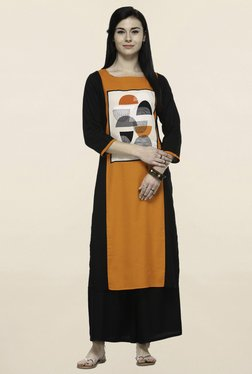 Varanga Orange & Black Geometric Print Kurta With Palazzo - Mp000000001250518