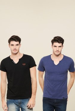 Rigo Black & Blue Slim Fit T-Shirt (Pack Of 2)