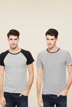 Rigo White & Light Grey Cotton Slim Fit T-Shirt (Pack Of 2)