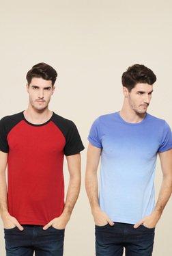 Rigo Red & Blue Slim Fit T-Shirt (Pack Of 2)