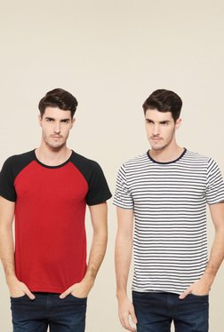 Rigo Red & White Slim Fit T-Shirt (Pack Of 2)