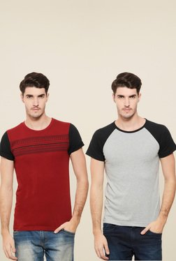Rigo Maroon & Light Grey Slim Fit T-Shirt (Pack Of 2)