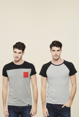 Rigo Grey & Light Grey Round Neck T-Shirt (Pack Of 2)