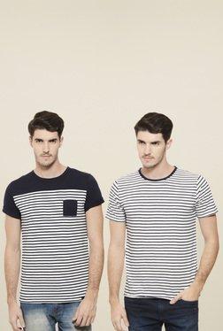 Rigo White & Navy Round Neck T-Shirt (Pack Of 2)