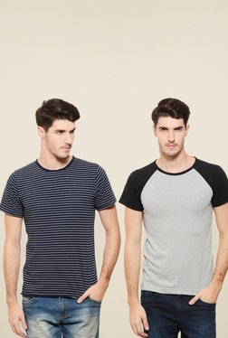 Rigo Navy & Grey Slim Fit T-Shirt (Pack Of 2)