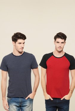 Rigo Navy & Red Slim Fit T-Shirt (Pack Of 2)