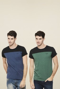 Rigo Green & Steel Blue Slim Fit T-Shirt (Pack Of 2)