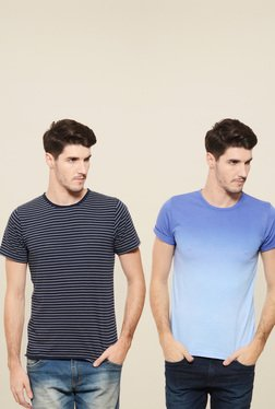 Rigo Navy & Light Blue Slim Fit T-Shirt (Pack Of 2)