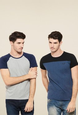 Rigo Grey & Blue Slim Fit T-Shirt (Pack Of 2)