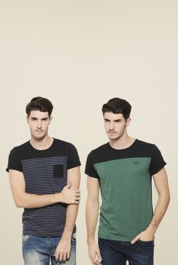 Rigo Green & Black Slim Fit T-Shirt (Pack Of 2)