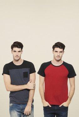 Rigo Black & Red Slim Fit T-Shirt (Pack Of 2)
