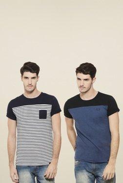 Rigo White & Black Cotton Slim Fit T-Shirt (Pack Of 2)