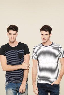Rigo White & Black Striped Slim Fit T-Shirt (Pack Of 2)