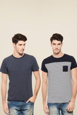 Rigo Navy & White Slim Fit T-Shirt (Pack Of 2)