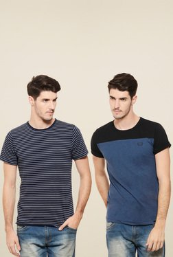 Rigo Navy & Blue Round Neck T-Shirt (Pack Of 2)