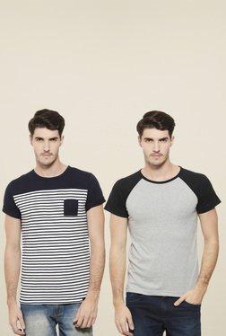 Rigo Grey & Navy Slim Fit T-Shirt (Pack Of 2)