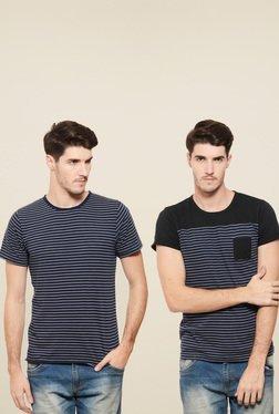 Rigo Navy & Black Slim Fit T-Shirt (Pack Of 2)