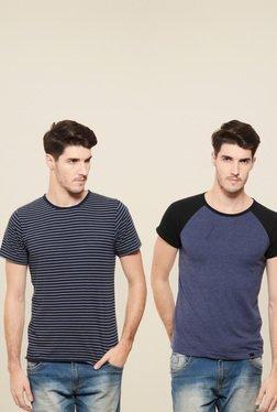 Rigo Navy & Blue Slim Fit T-Shirt (Pack Of 2)