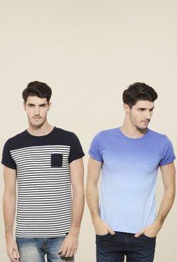 Rigo Blue & White Slim Fit T-Shirt (Pack Of 2)