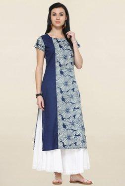 Varanga Navy & White Floral Print Straight Kurta