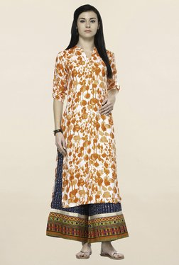 Varanga Orange Printed Straight Kurta - Mp000000001253708