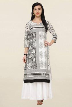 Varanga White & Black Printed Straight Kurta