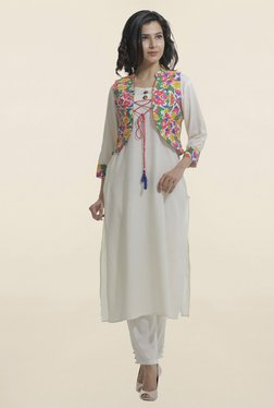 Shree Off White Embroidered Kurta With Jacket