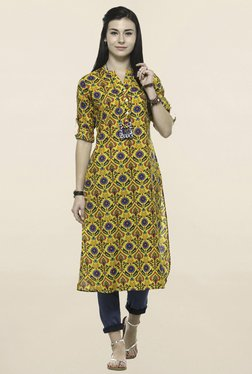 Varanga Yellow Printed Straight Kurta