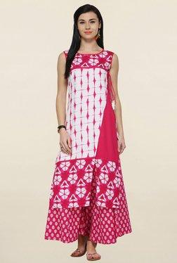 Varanga White & Pink Printed Straight Kurta