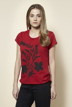 Zudio Red Floral Print T Shirt