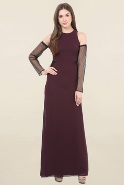 Honey & B Maroon Round Neck Dress