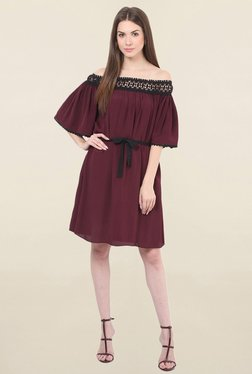 Honey & B Maroon Lace Dress