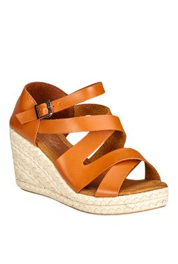 Vero Couture Tan Ankle Strap Espadrille Wedges