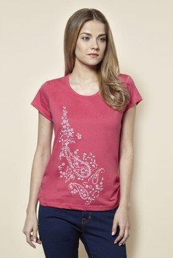 Zudio Pink Floral Print T Shirt
