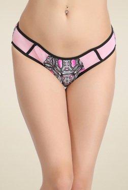 Clovia Black & Pink Low Waist Printed Bikini Panties