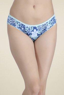 Clovia Blue Mid Waist Floral Printed Bikini Panties
